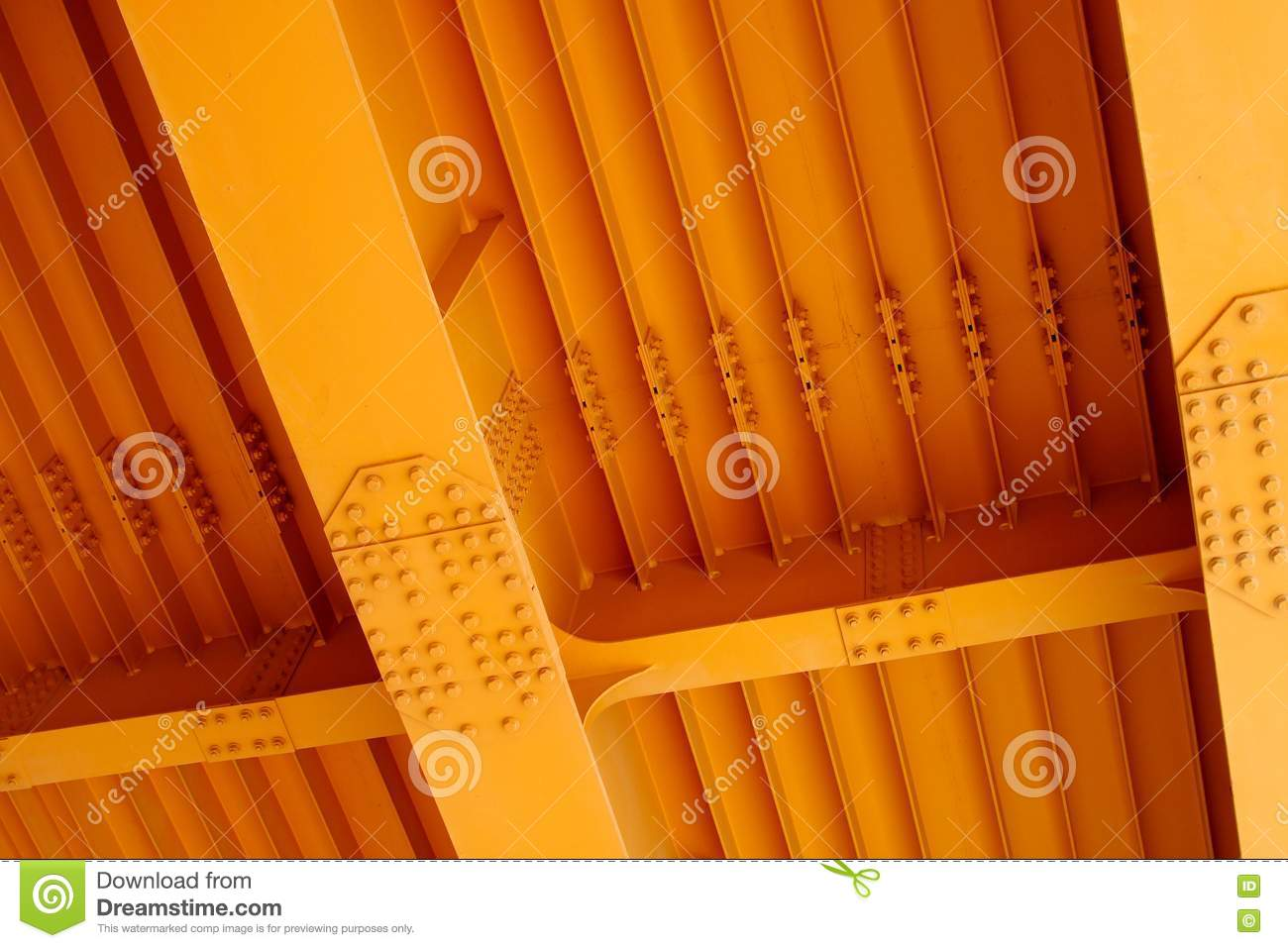 Fragment Of A Steel Car Bridge, Bottom View  Stock Image - Image of