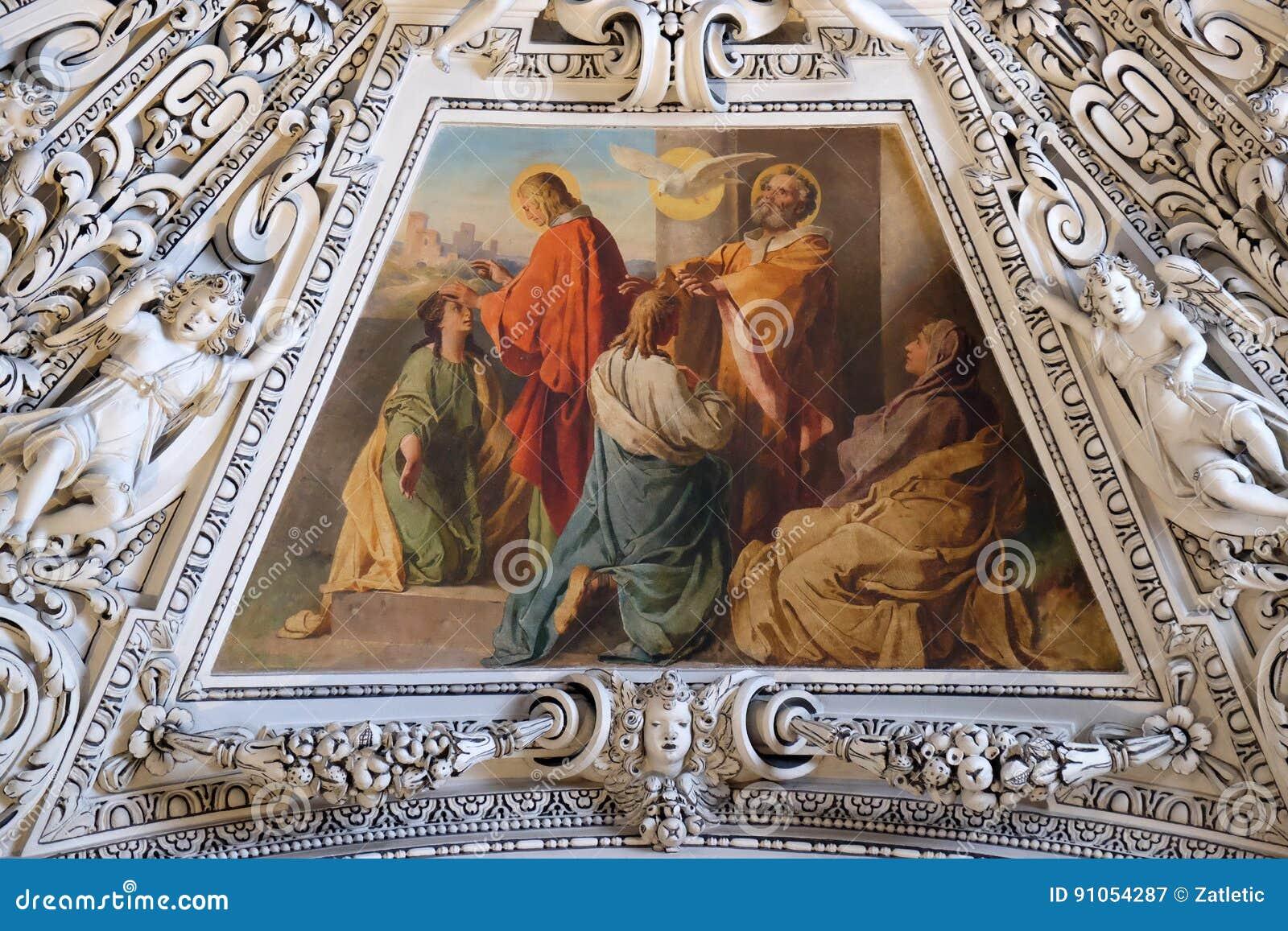 Fragment van de koepel in de Kapel van de Heilige Geest, de Kathedraal van Salzburg