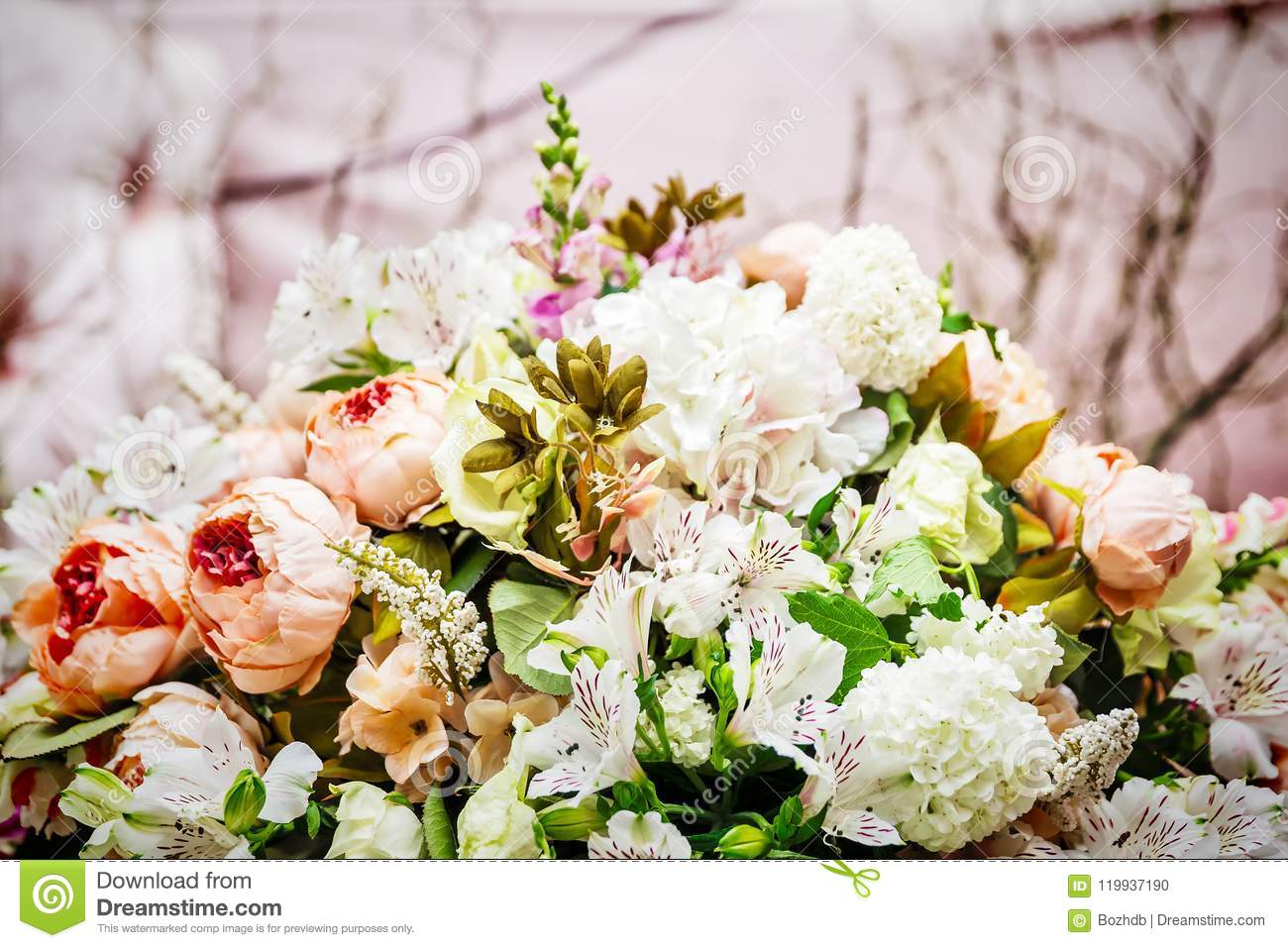 Decoration Of Flowers For Wedding Stock Photo Image Of Catering
