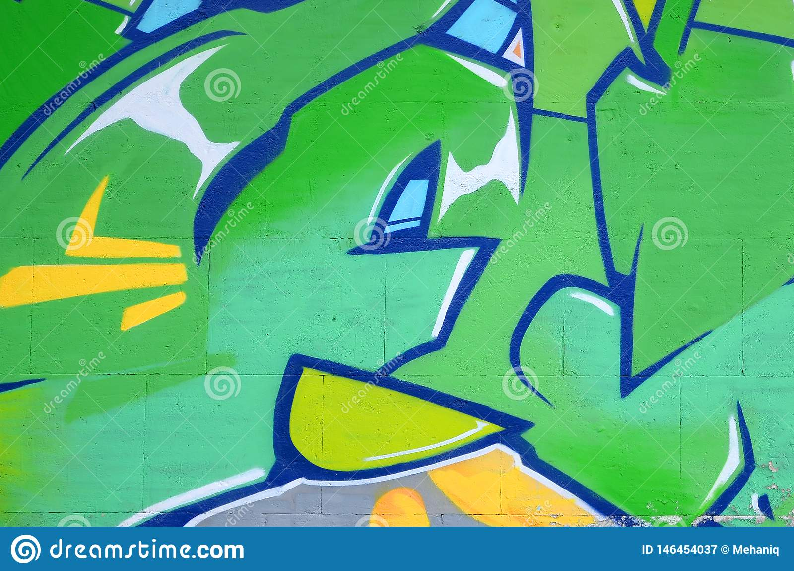 Fragmento de las pinturas coloreadas de la pintada del arte de la calle con contornos y el sombrear cierre para arriba