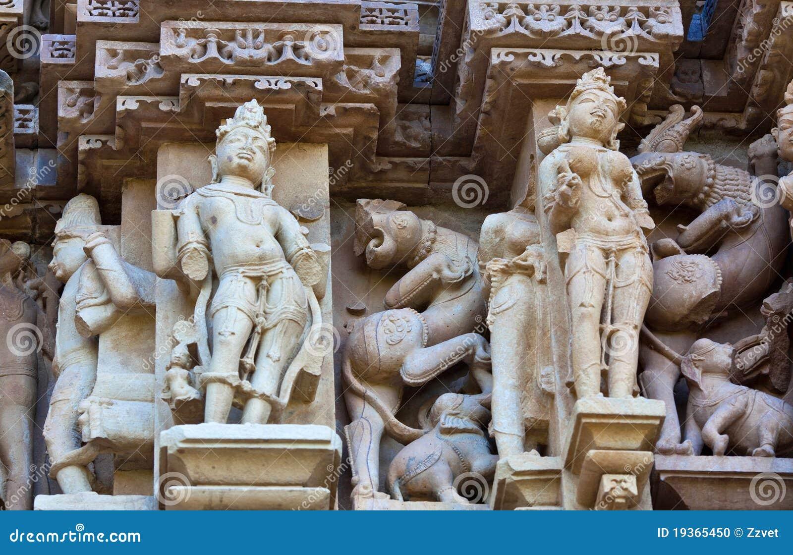 Fragmento do templo erótico famoso em Khajuraho