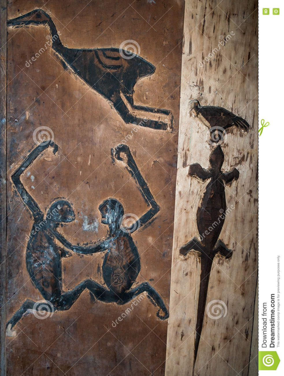 Fragments of the Mentawai tribe drawings in a traditional house.