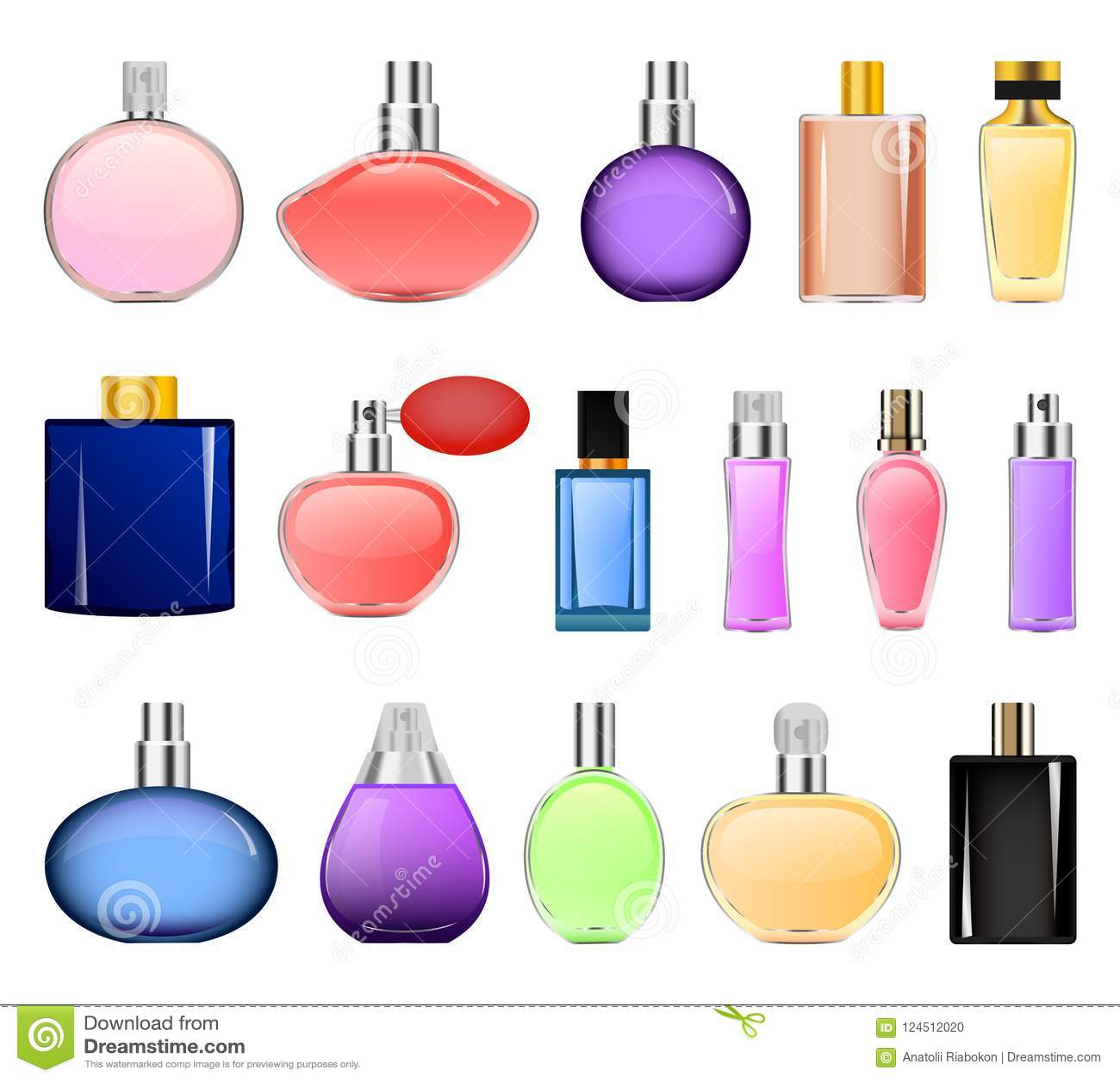 Fragrance bottles mockup set, realistic style