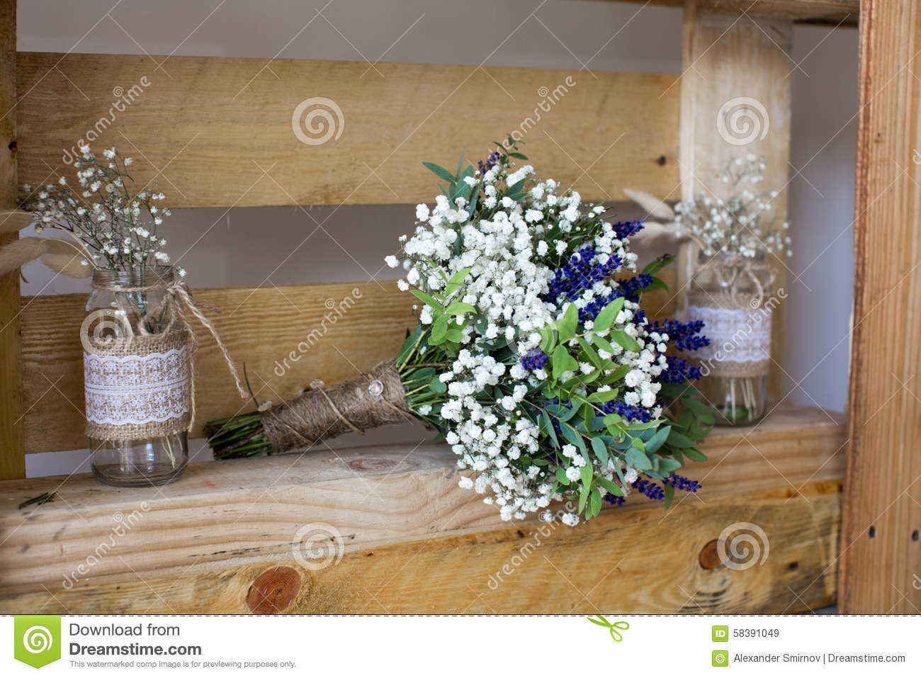 Fragrant Bouquet Of Baby S Breath With Eucalyptus And Lavender Stock Image Image Of Limonium Blue 58391049