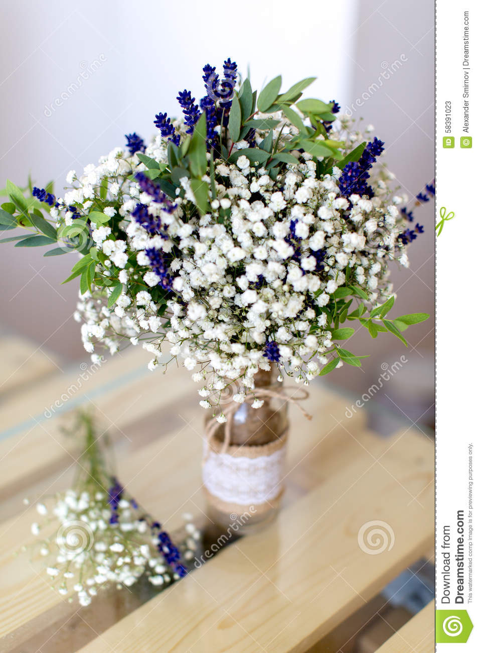 Fragrant bouquet of baby s breath with eucalyptus and