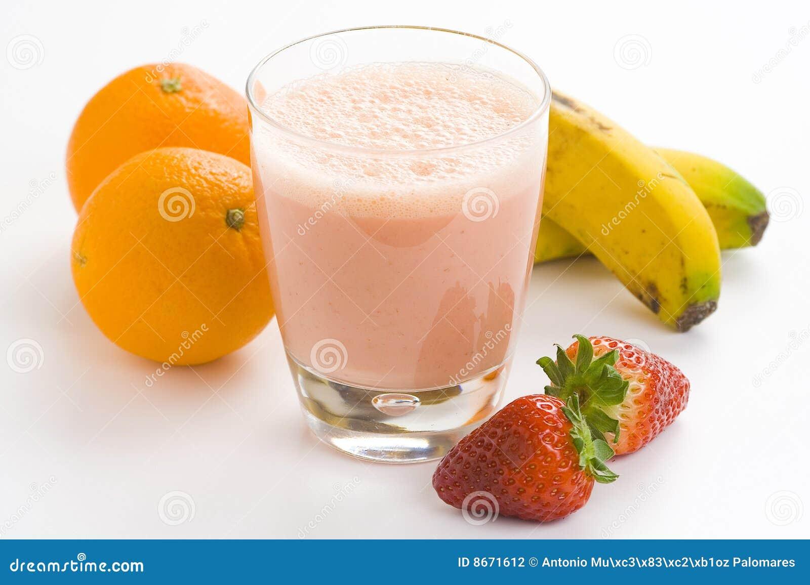 Fraise délicieuse d orange de lait de poule de banane