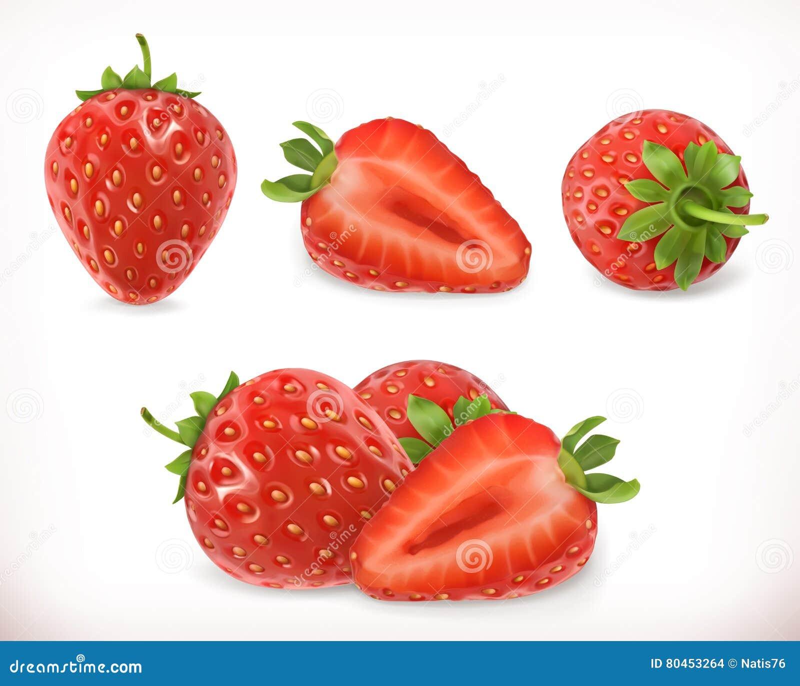 Fraise Fruit doux icônes du vecteur 3d réglées