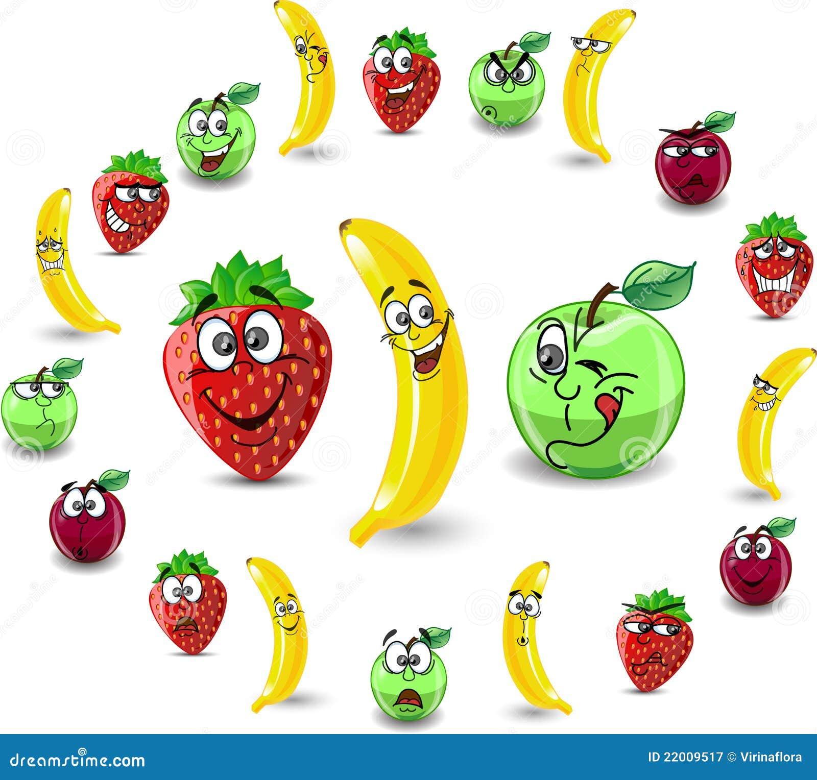 Fraises et pommes de dessin animé d émotion