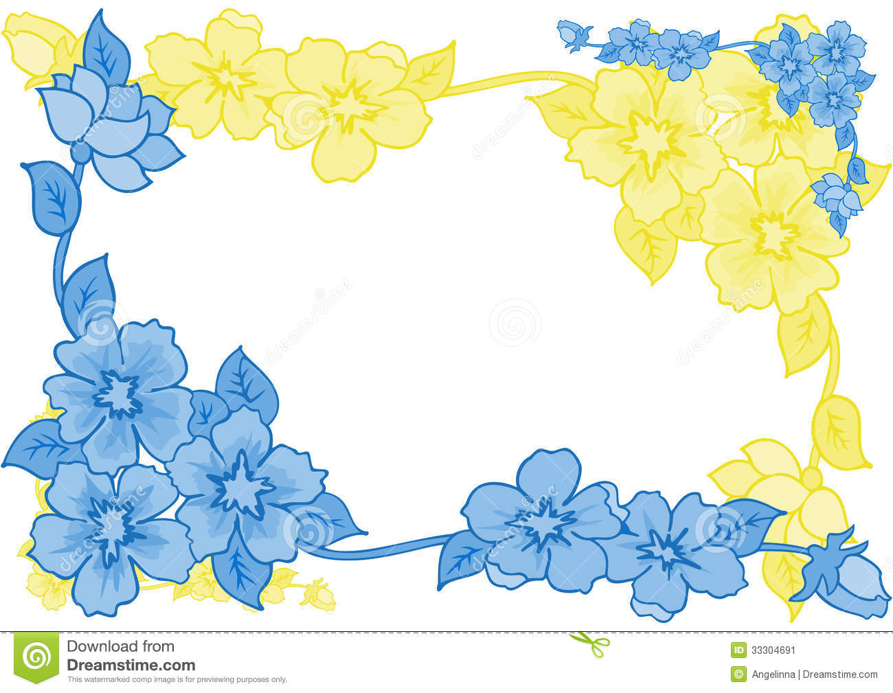 Frame from abstract blue and yellow flowers stock vector frame from abstract blue and yellow flowers izmirmasajfo