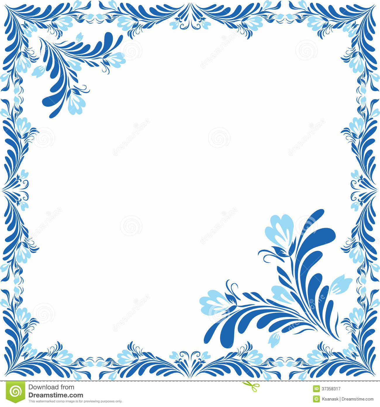 Decorative floral frame with abstract plant elements two colors style of russian folk painting border for your design copy space vector file is eps8