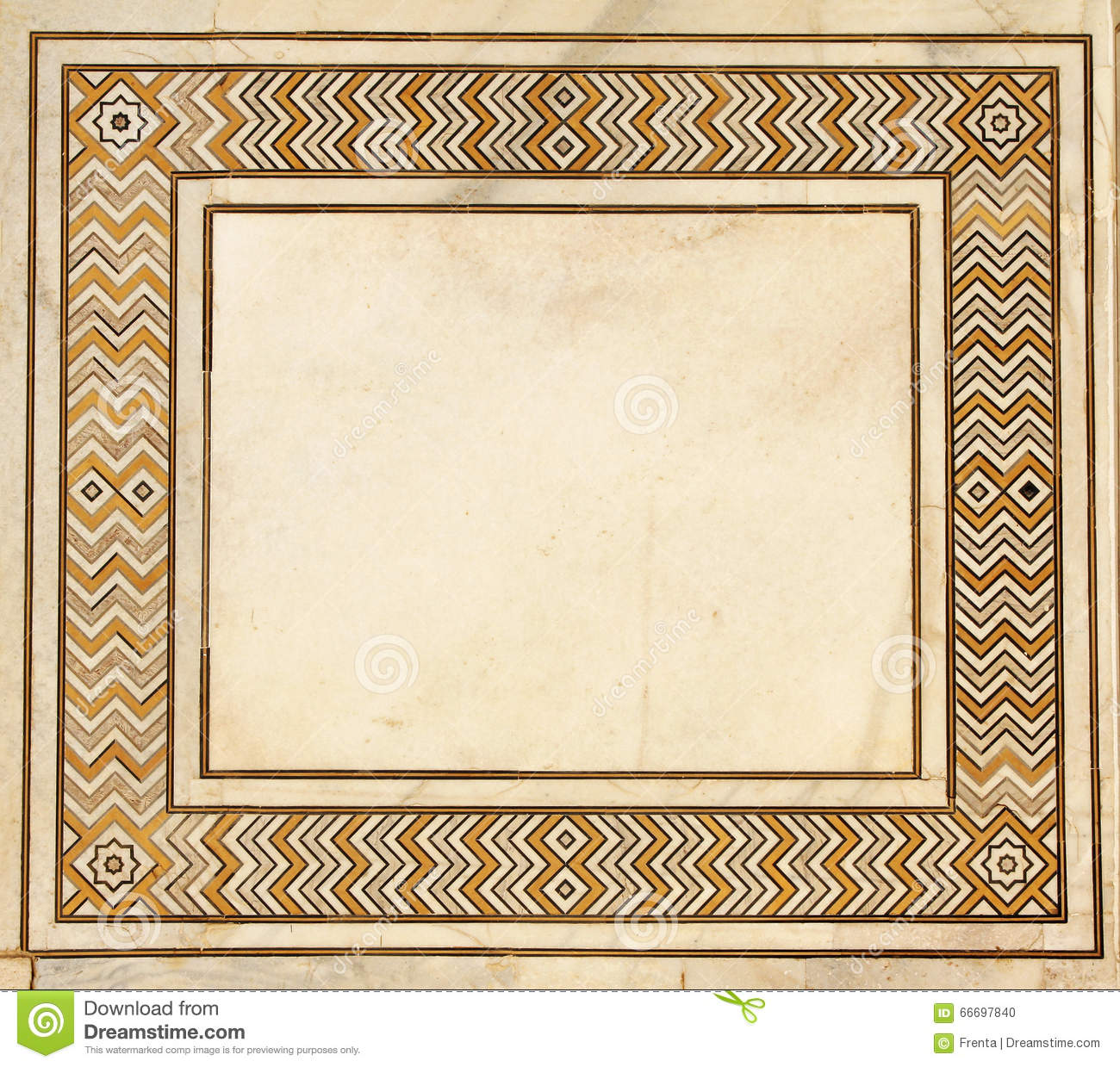Frame Of Ancient Mosaic On Marble Taj Mahal India Stock