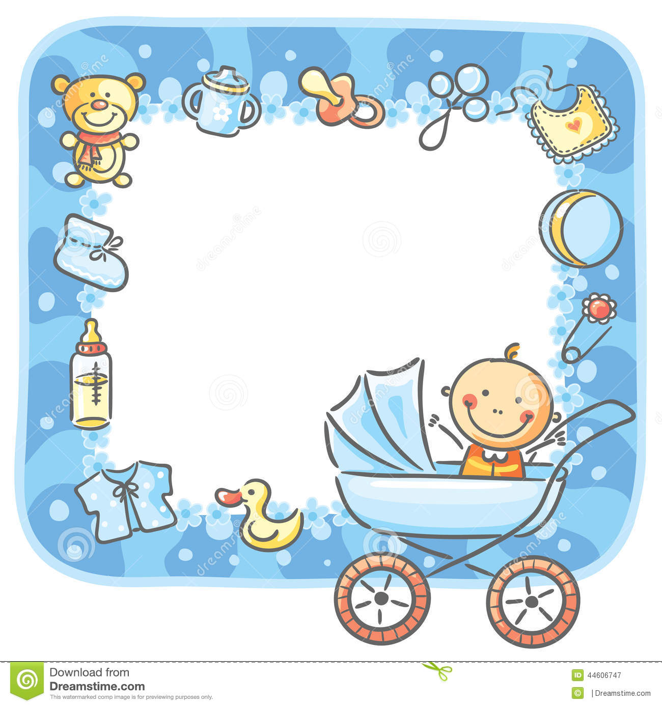 Frame With Baby boy Things Stock Vector Image 44606747
