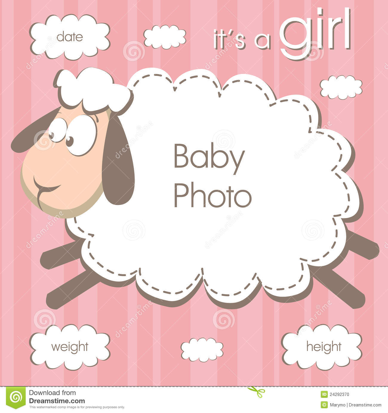 Frame for baby girl stock vector. Illustration of congratulate ...