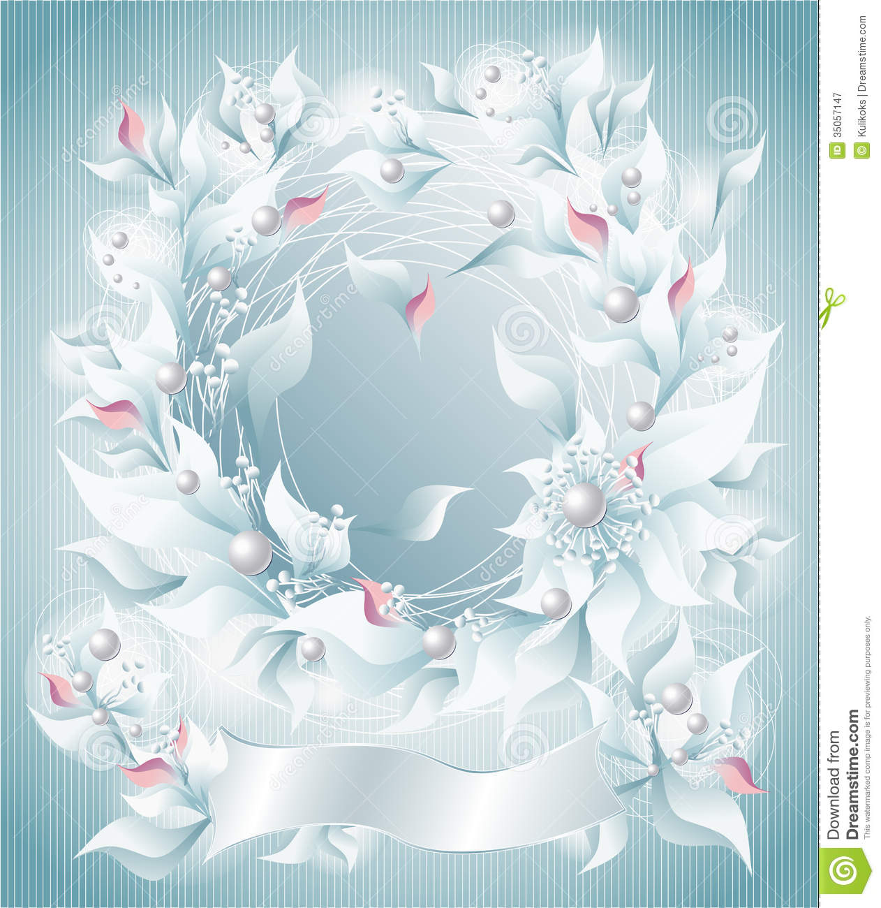 Frame Or Background With Flowers Pearls Petals Rib Stock