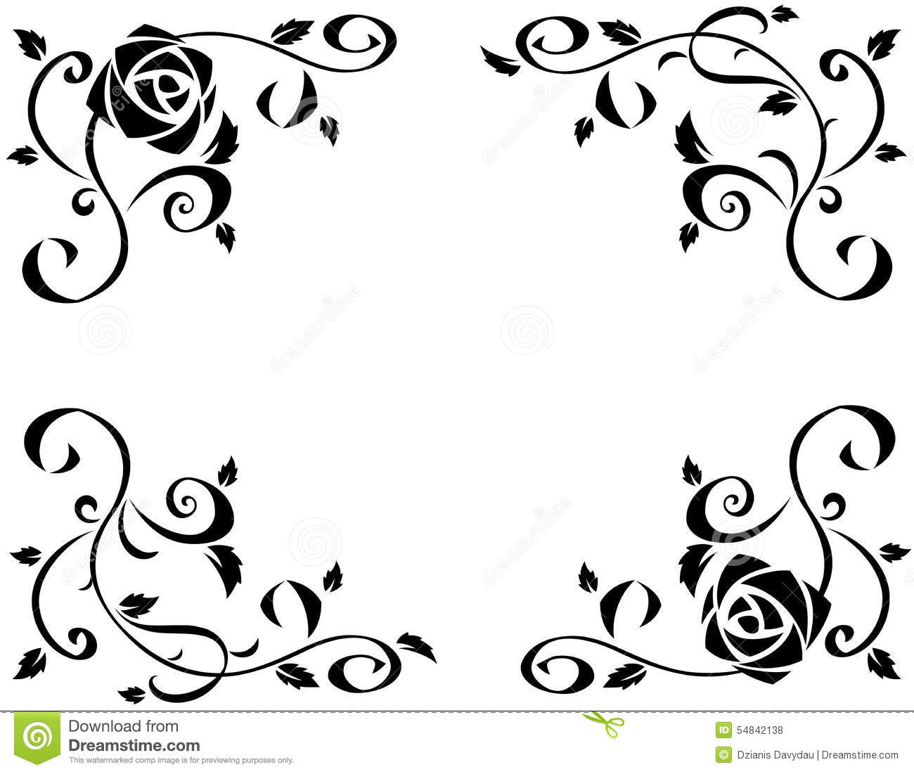 Frame With Beautiful Rose Flowers Black Silhouette Illustration ...