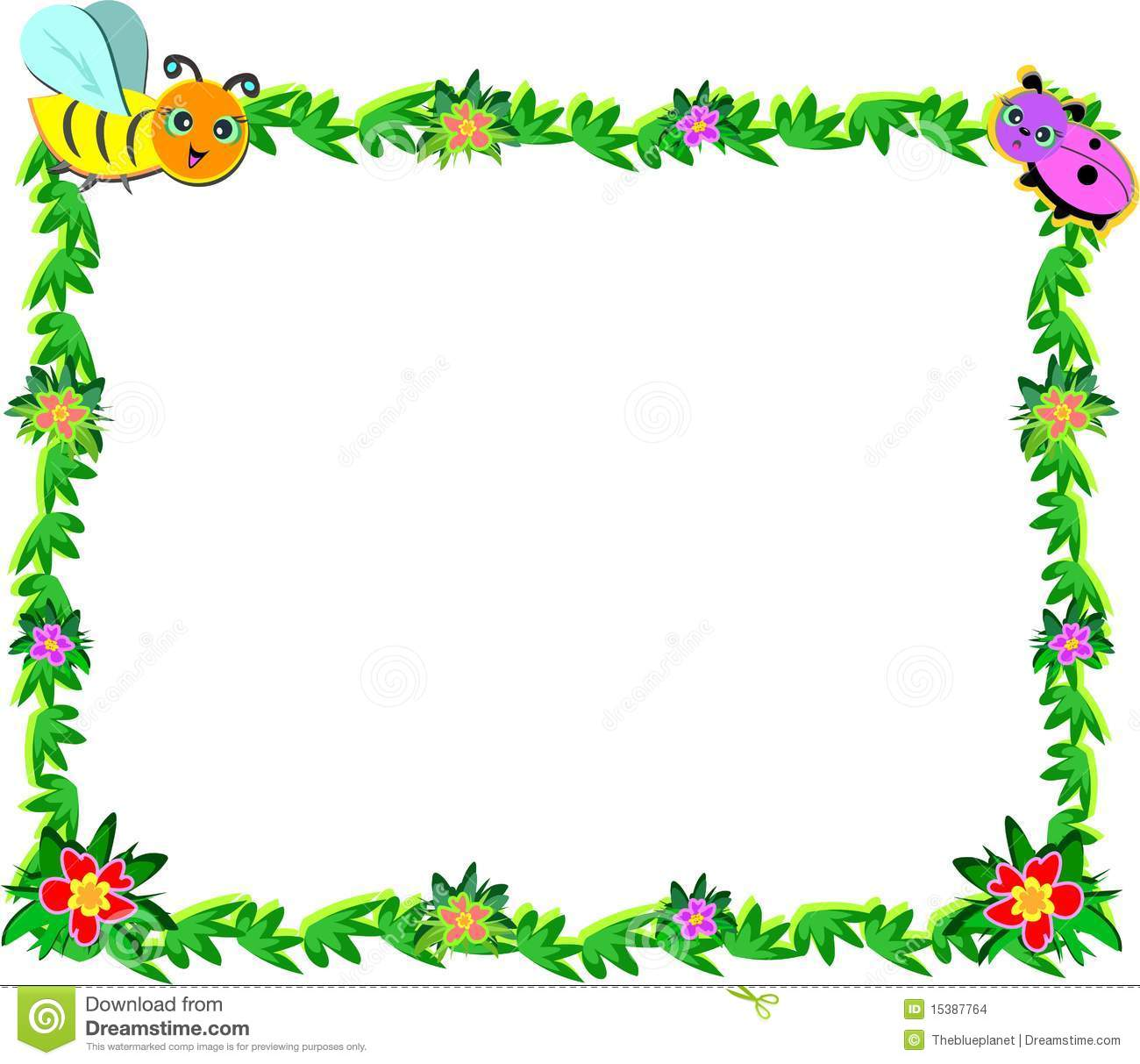Frame Of Bee, Ladybug, Vines, And Flowers Stock Vector ...