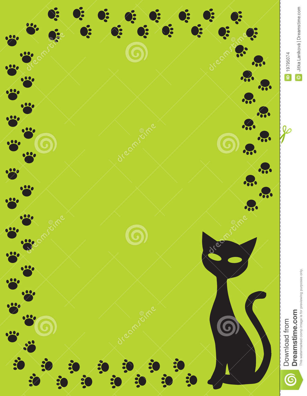 frame with black cat and cat paw on green backgrou stock