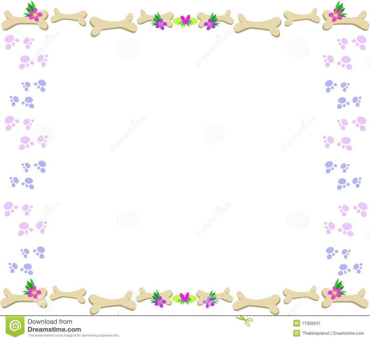... Free Stock Photography: Frame of Bones, Paw Prints, Flowers and Hearts