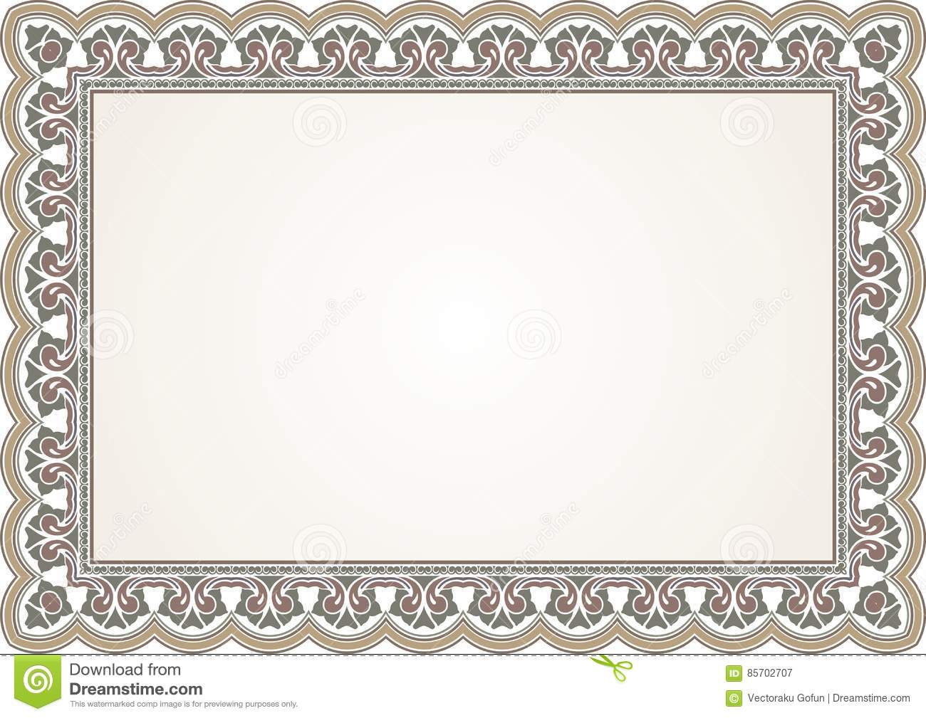 Frame - Border Certificate With Vintage Ornament Stock ...