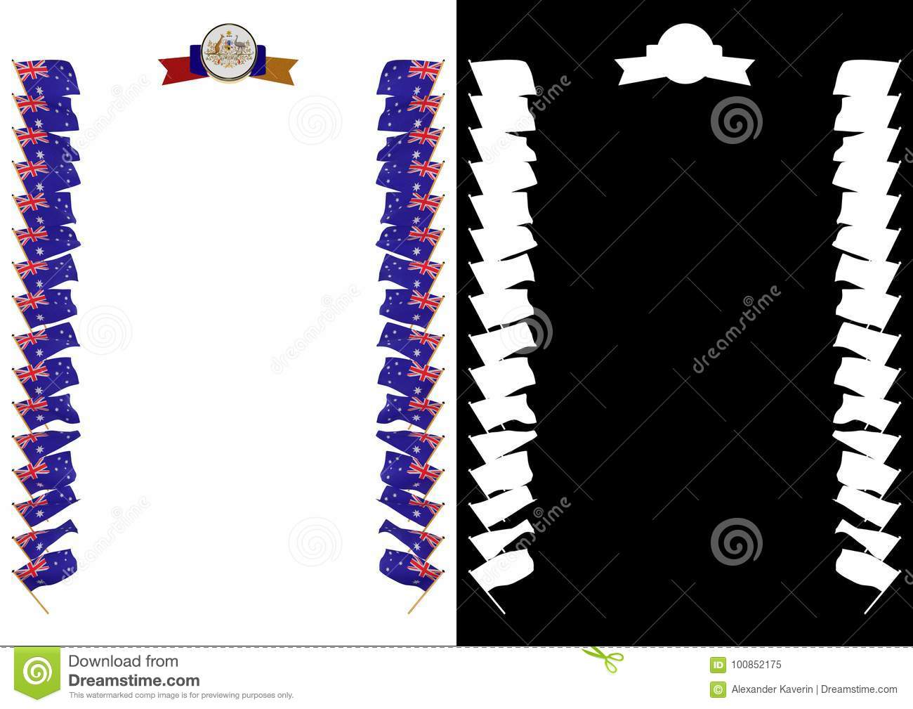 Frame And Border With Flag And Coat Of Arms Australia. 3d ...
