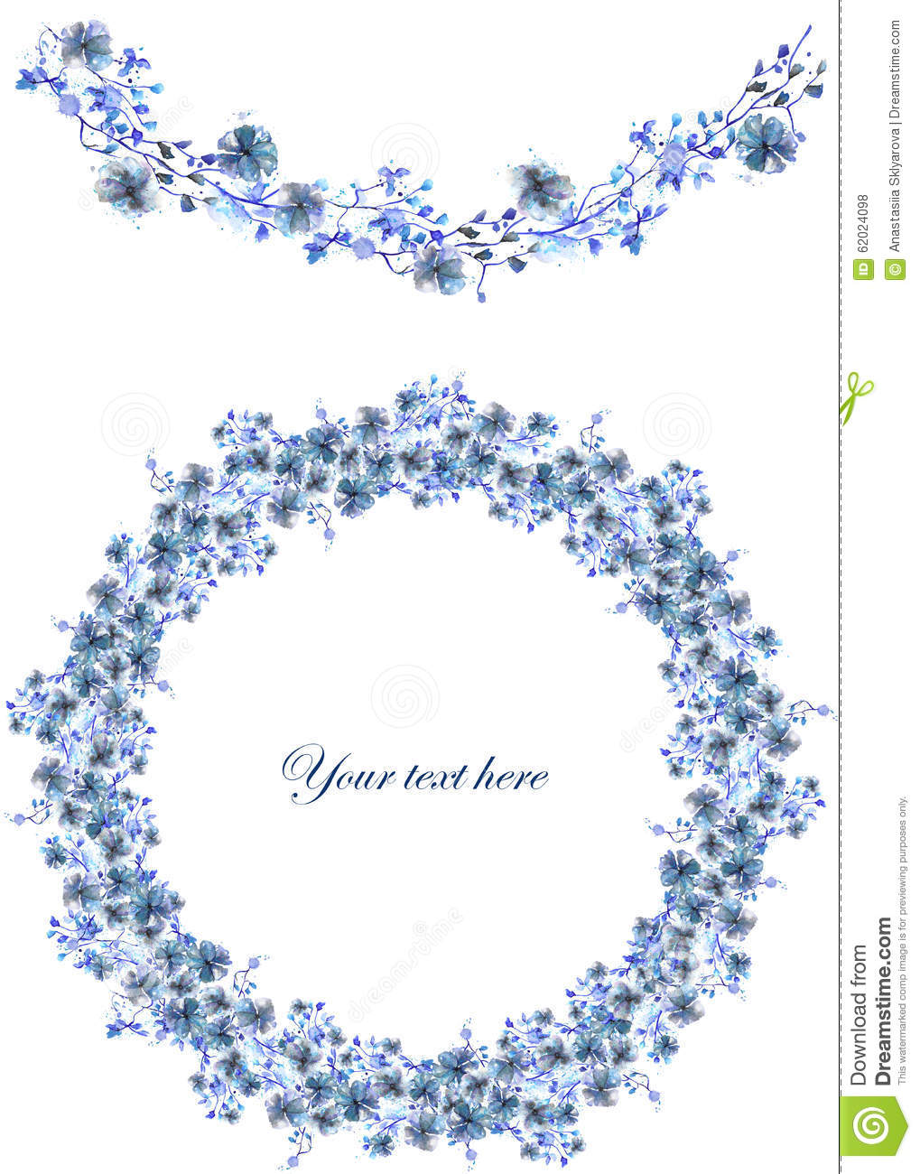 Frame border garland and wreath of blue flowers and branches with frame border garland and wreath of blue flowers and branches with the blue leaves painted in watercolor on a white background illustration 62024098 izmirmasajfo