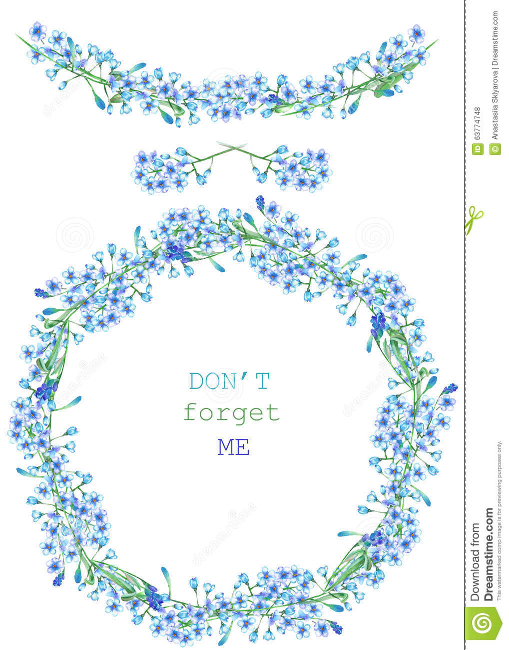 Frame border garland and wreath of the blue flowers of forget me frame border garland and wreath of the blue flowers of forget me not myosotis painted in a watercolor on a white background g izmirmasajfo Gallery