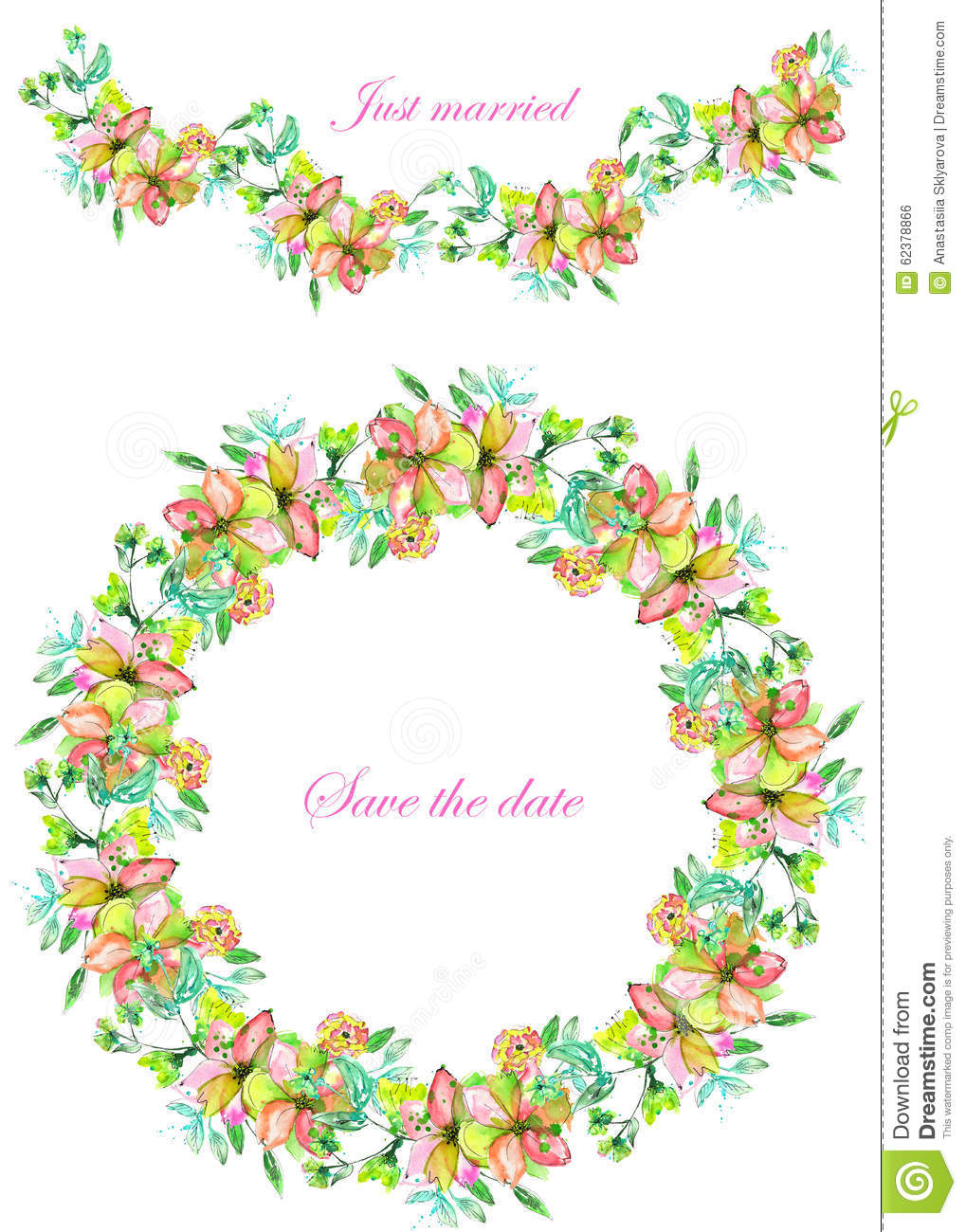Frame Border, Garland And Wreath Of Yellow And Tender Pink ...