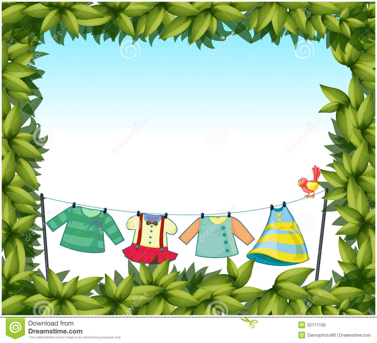 Frame Border With Hanging Clothes And A Bird Stock Photo - Image ...