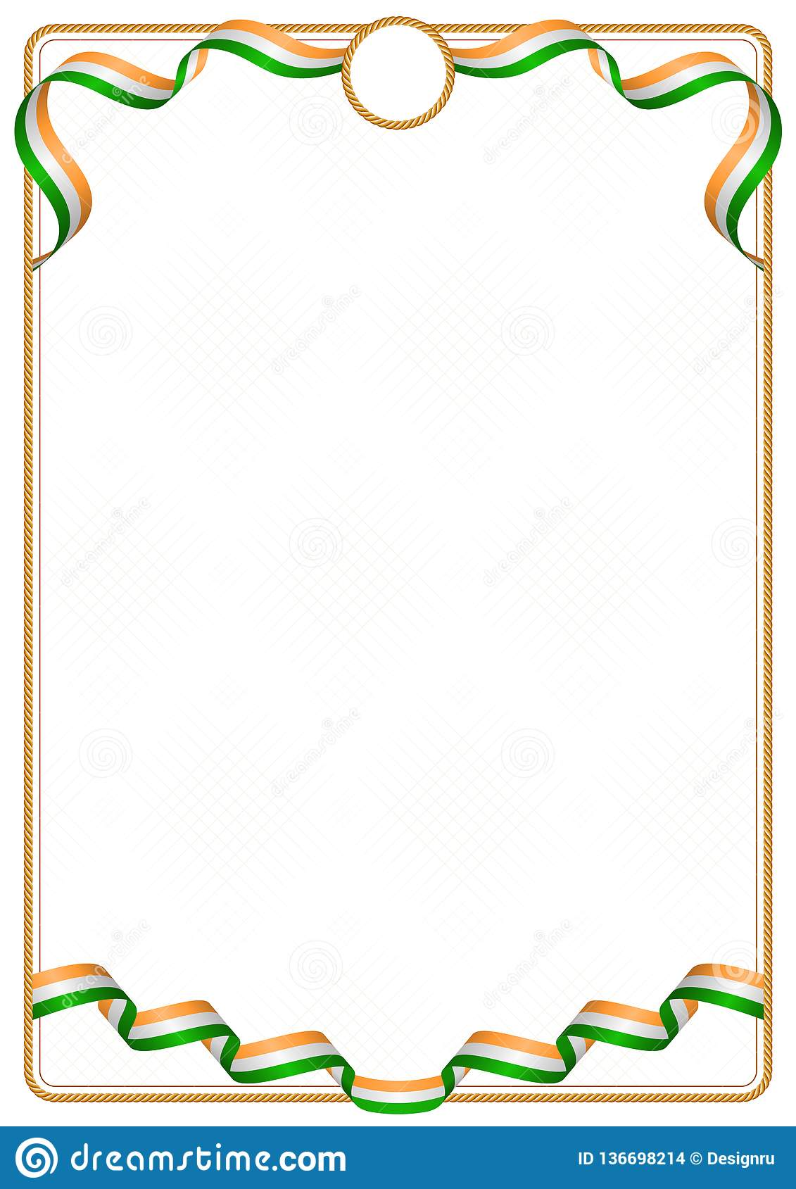 frame and border of india colors flag stock vector
