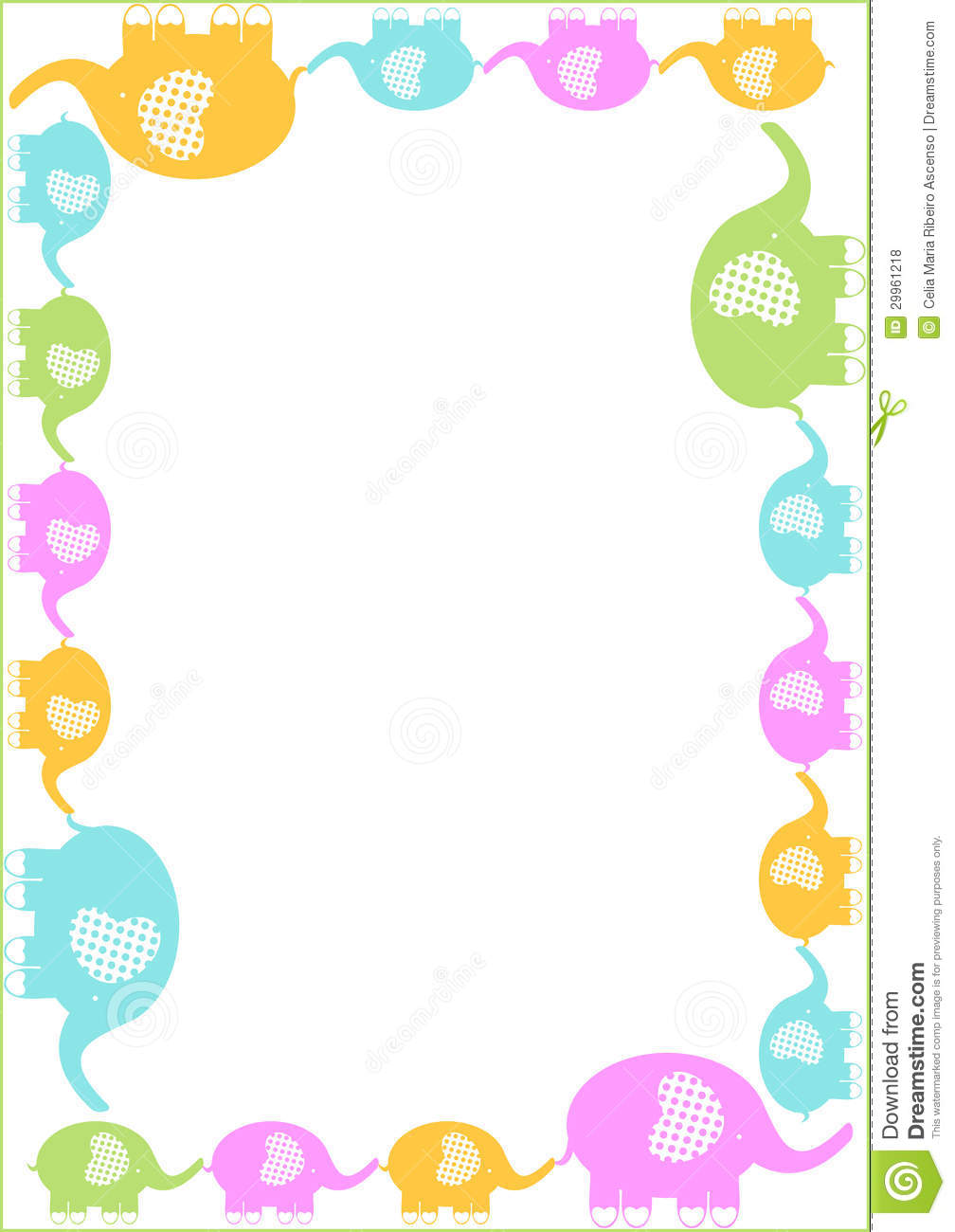 Mother And Elephants Row Frame Border Royalty Free Stock ...