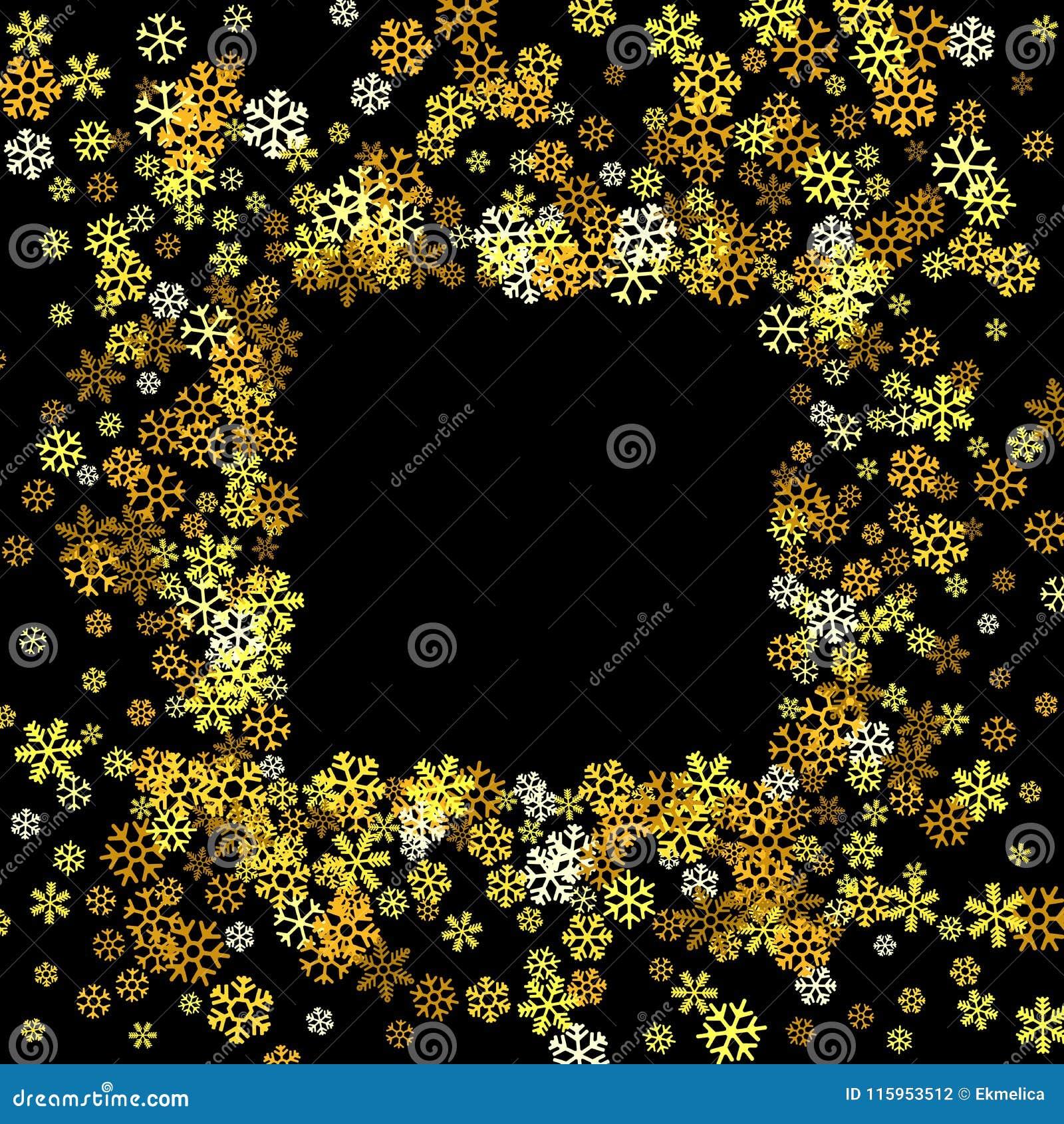 4c895055d3c Square gold frame or border of random scatter golden snowflakes on black  background. Design element for festive banner