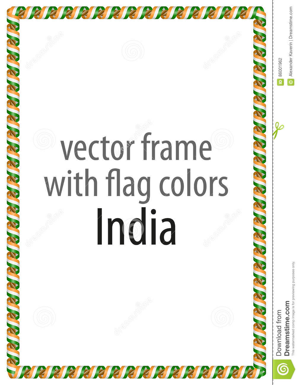 frame and border of ribbon with the colors of the india flag stock