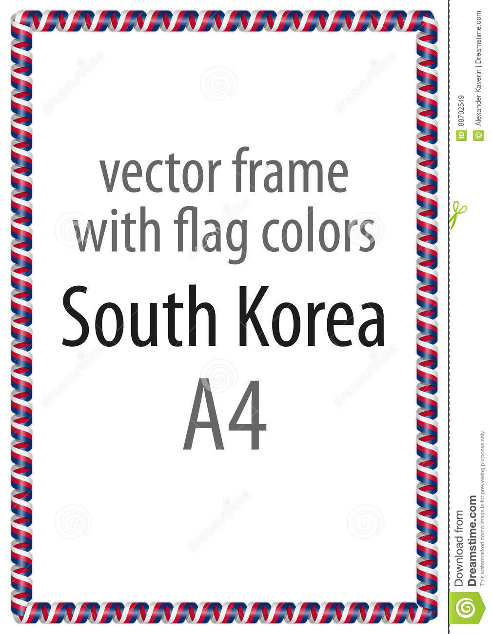 6732c2ebe6a Frame and border of ribbon with the colors of the South Korea flag. More  similar stock illustrations