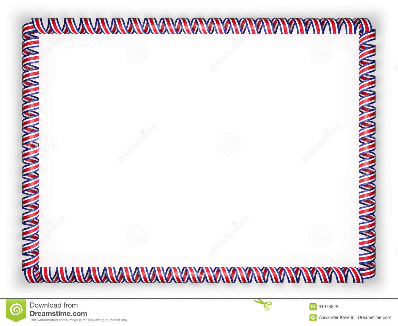 Frame And Border Of Ribbon With The Costa Rica Flag 3d
