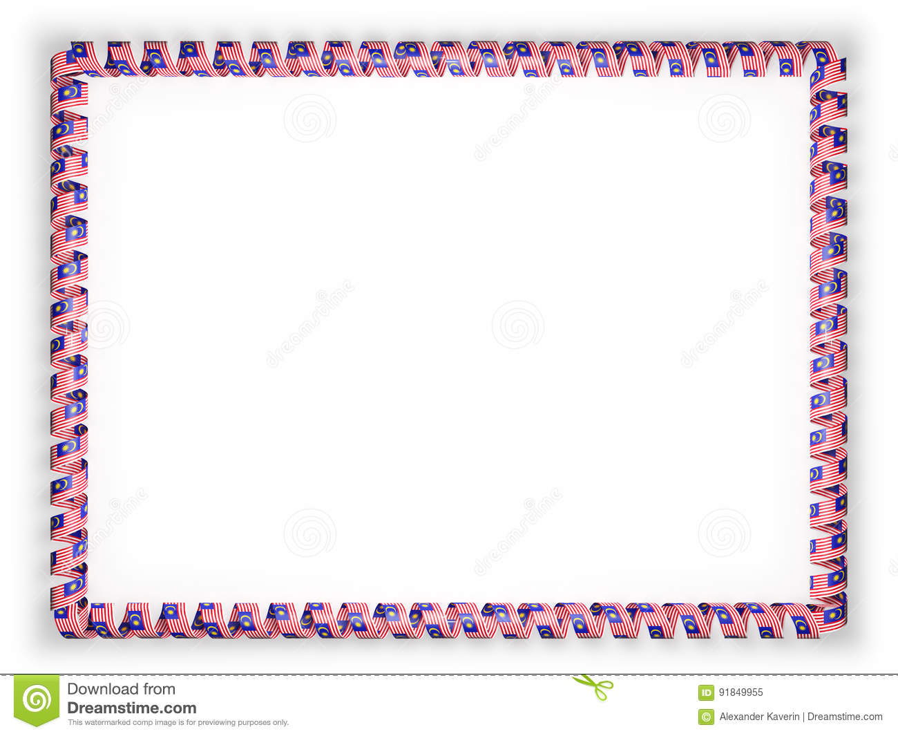 Frame And Border Of Ribbon With The Malaysia Flag. 3d Illustration ...