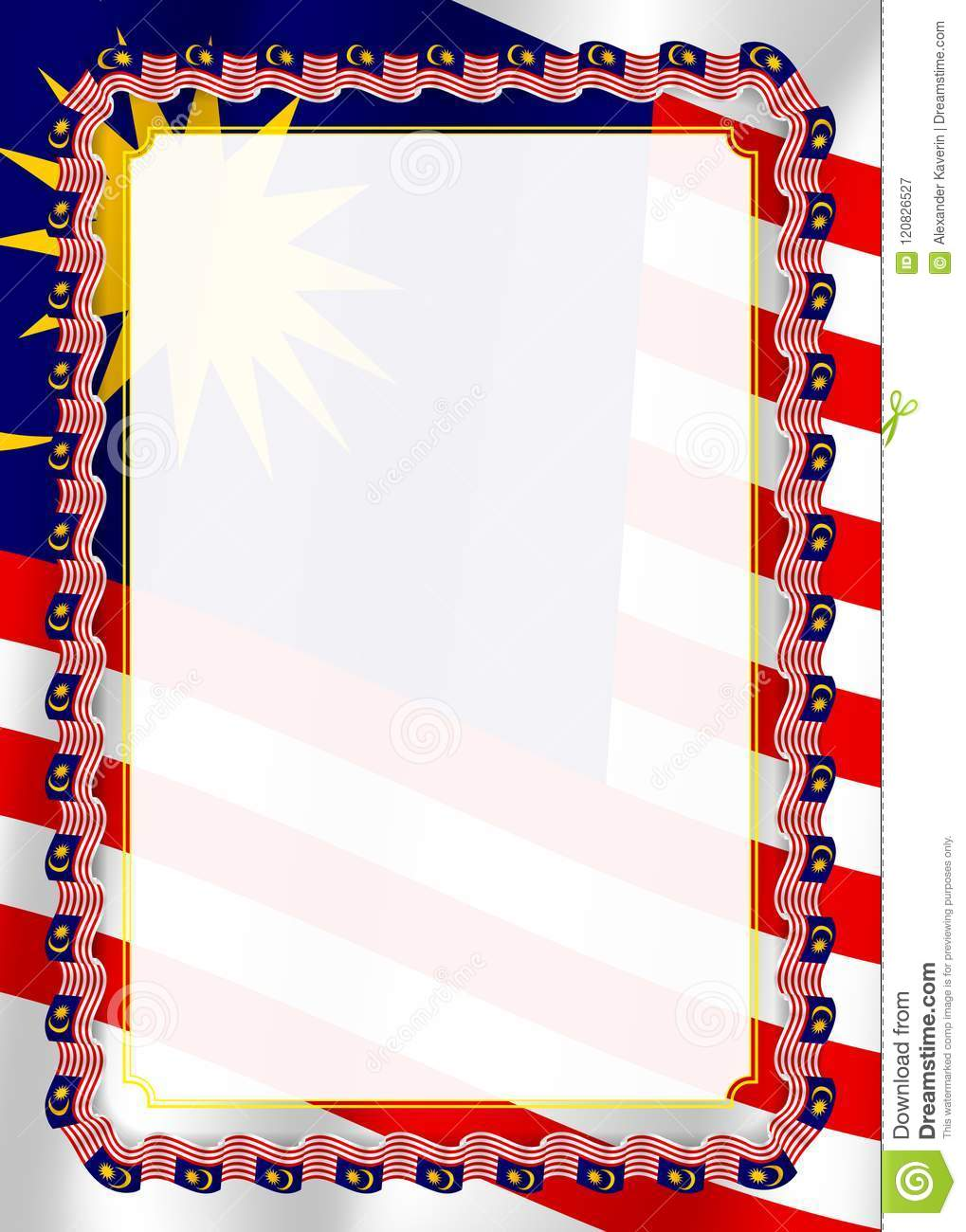 frame and border of ribbon with malaysia flag template elements for