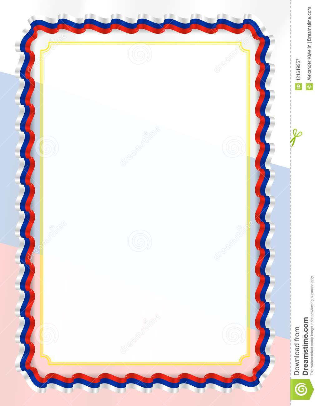 Frame And Border Of Ribbon With Russia Flag Template Elements For