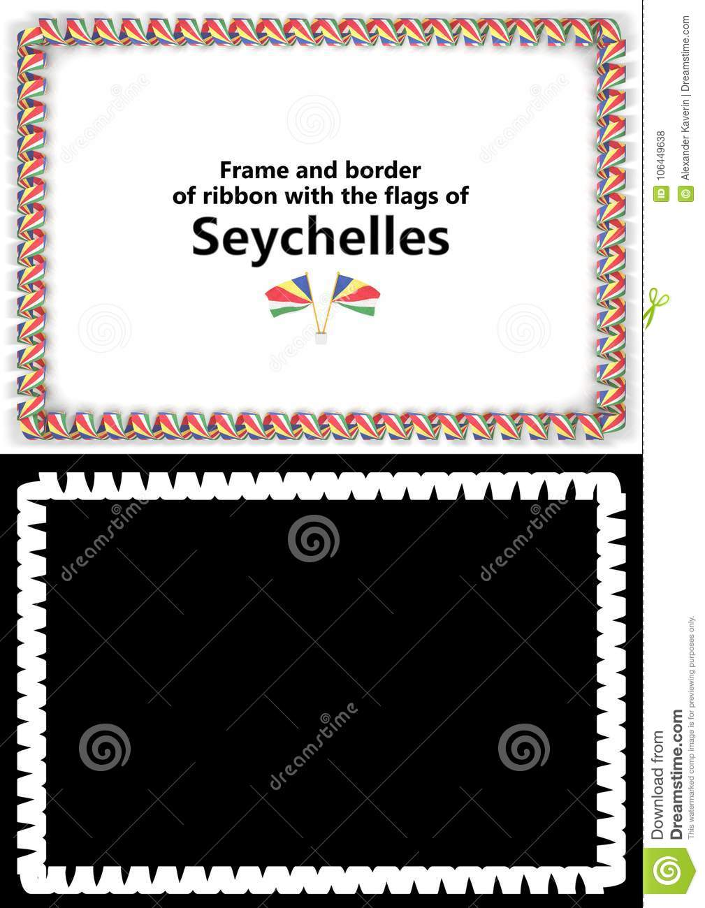 frame and border of ribbon with the seychelles flag for diplomas