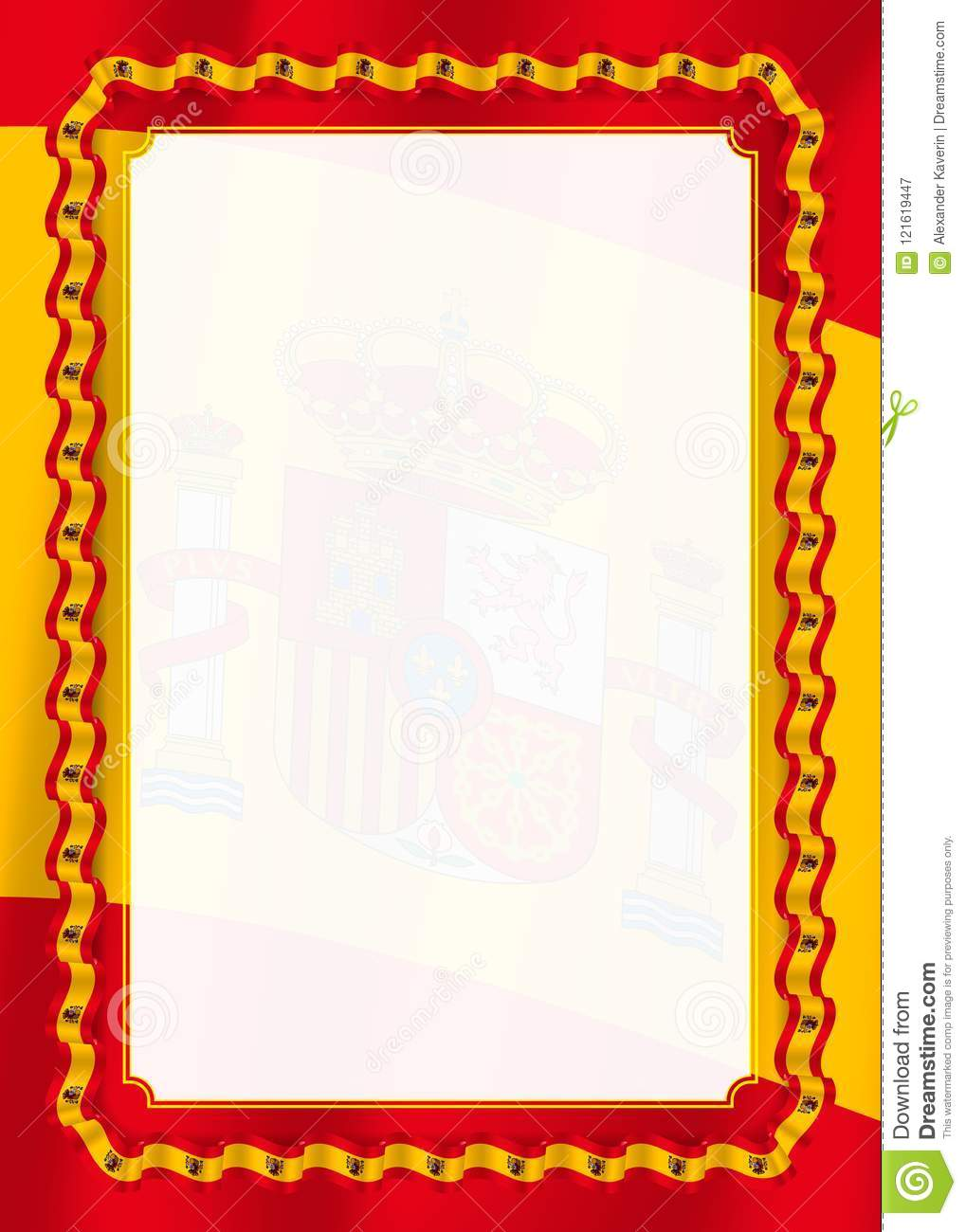 frame and border of ribbon with spain flag  template elements for your certificate and diploma