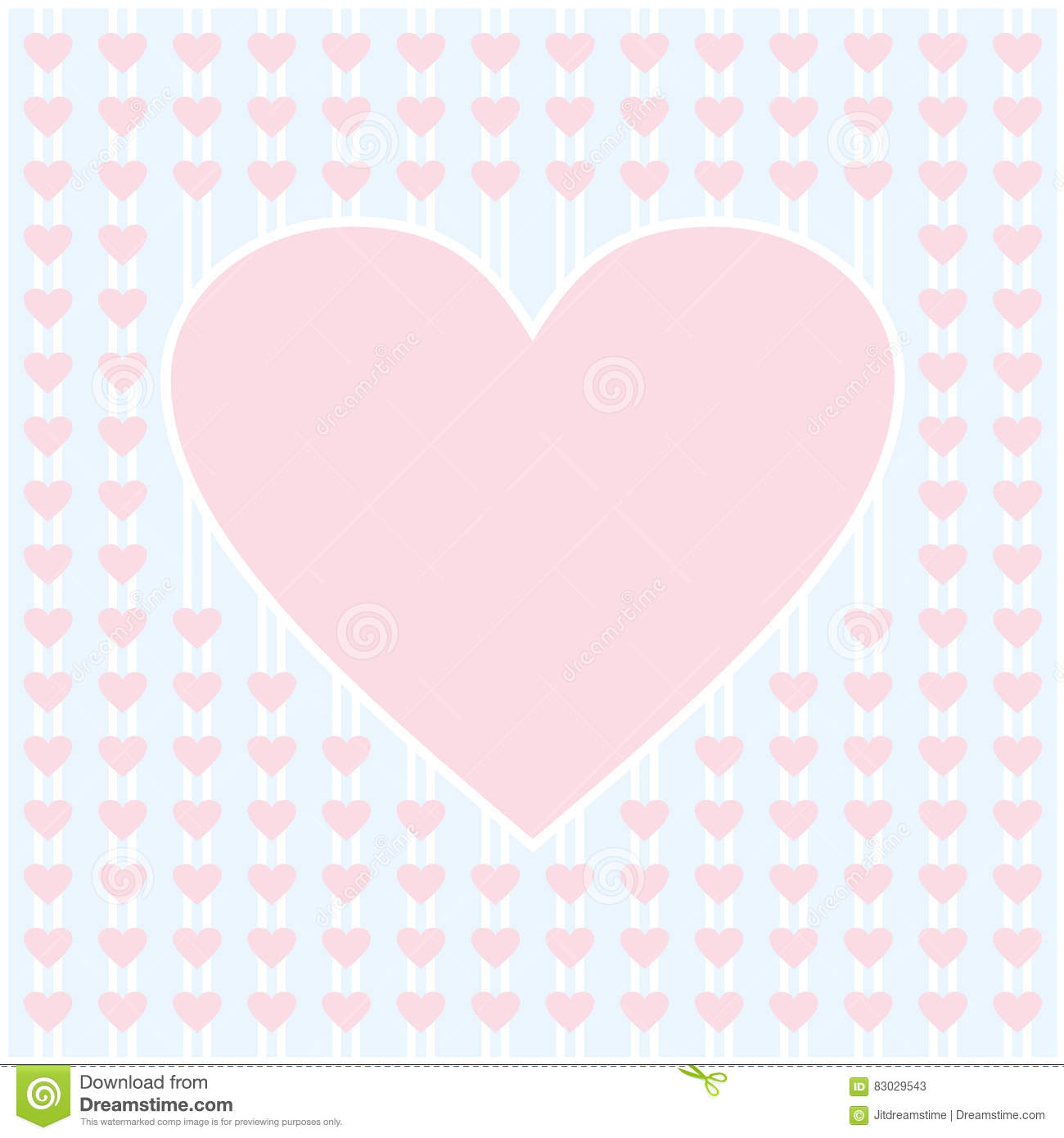 frame border shaped from pink heart on light blue