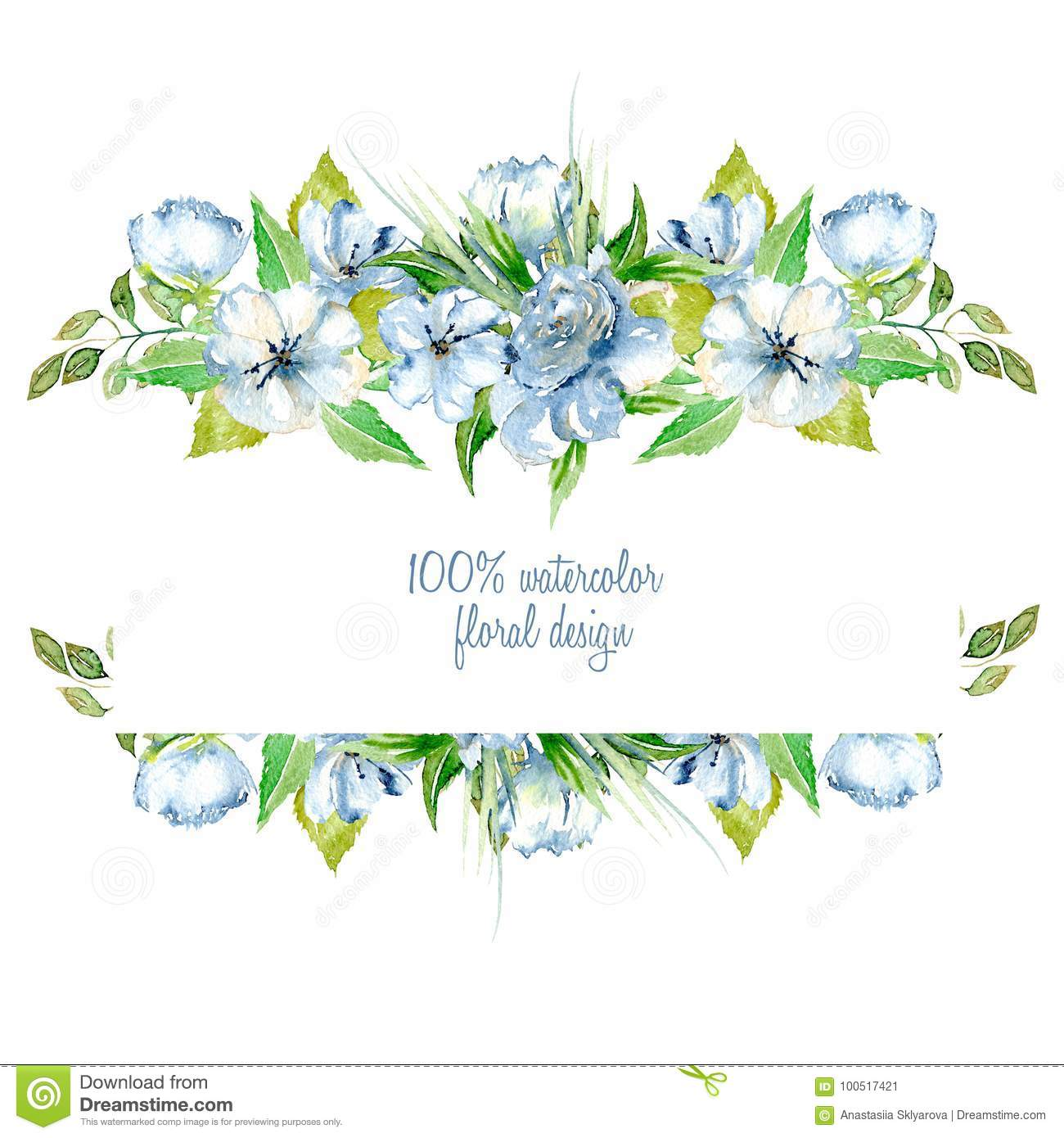 Frame Border With Simple Watercolor Blue Wildflowers And