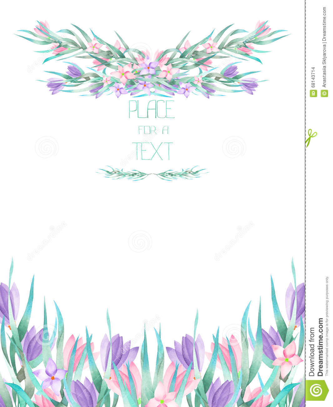A Frame Border Template Of A Postcard With The Watercolor Crocus Flowers And Branches Wedding