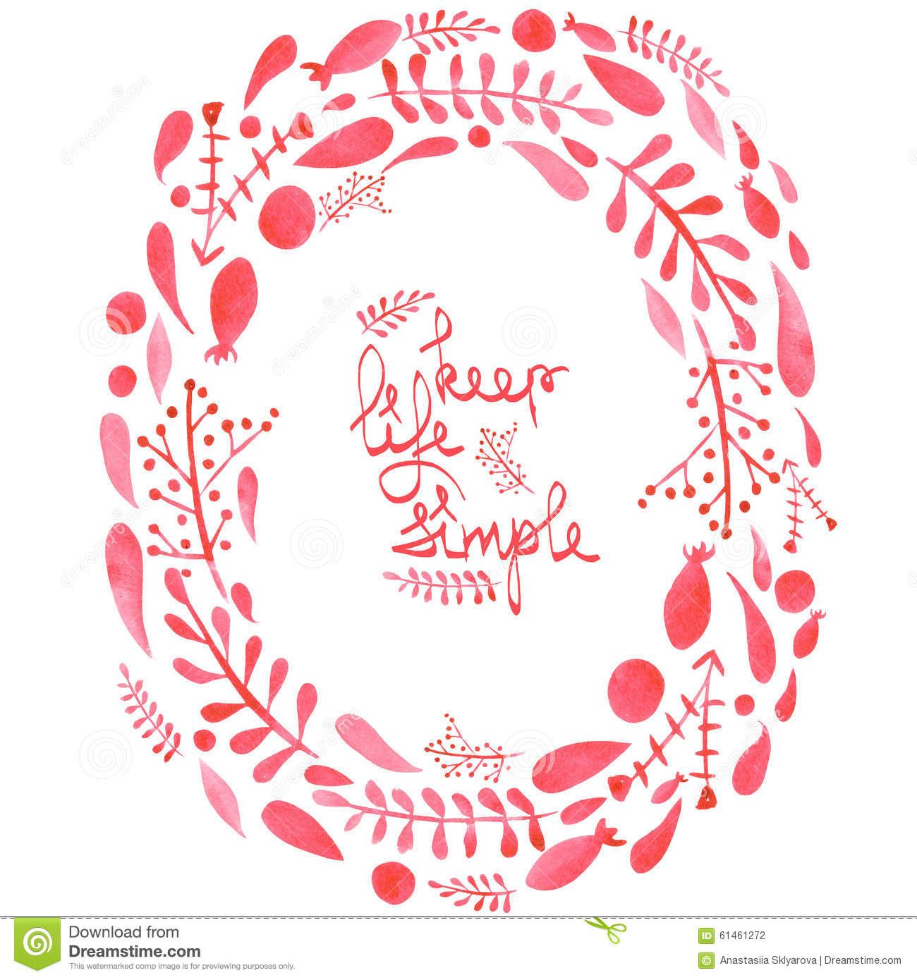 Frame border, wreath with watercolor red abstract leaves and branches
