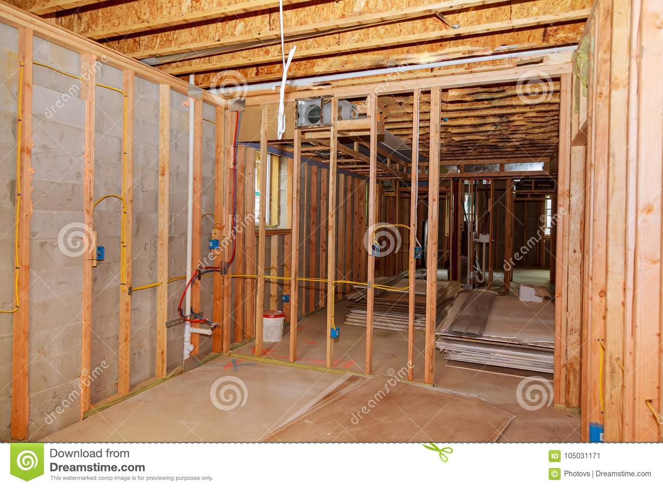 Download The Frame Building Or House With Basic Electrical Wiring Stock  Image - Image of industry
