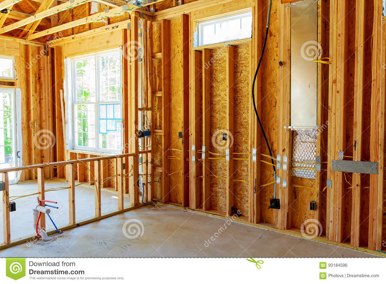 Wiring House Frame Circuits Symbols Diagrams How To Wire A For Electricity The Building Or With Basic Electrical Stock Photo Rh Dreamstime Com