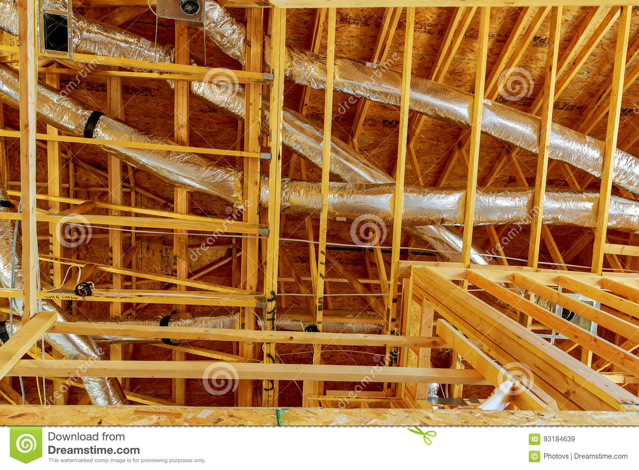 The Frame Building Or House With Basic Electrical Wiring Stock Image A How To