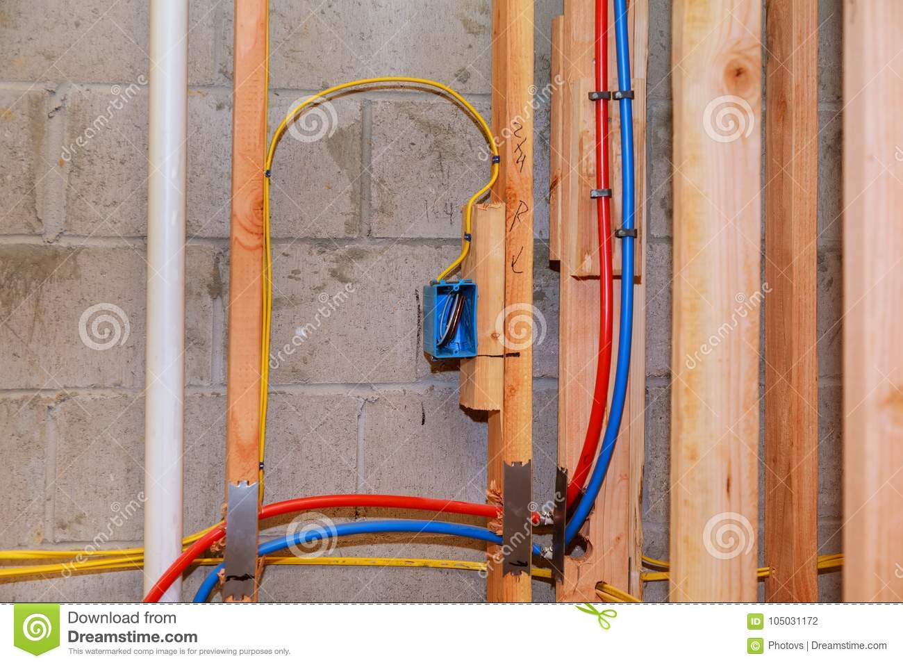 The Frame Building Unfinished Wood House Stock Photo Image Wiring
