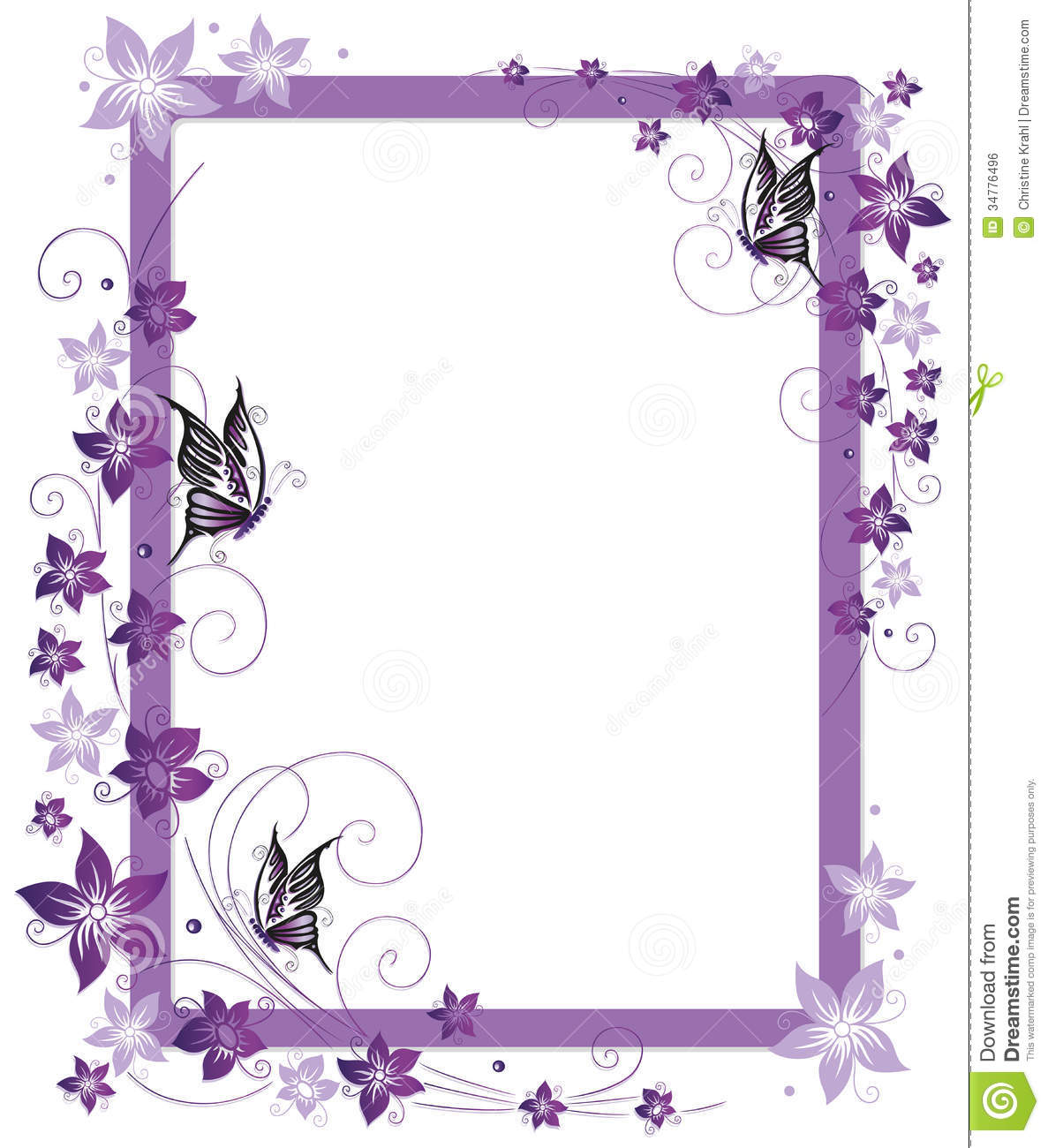 Frame, Butterflies, Flowers Stock Vector - Illustration of nature ...