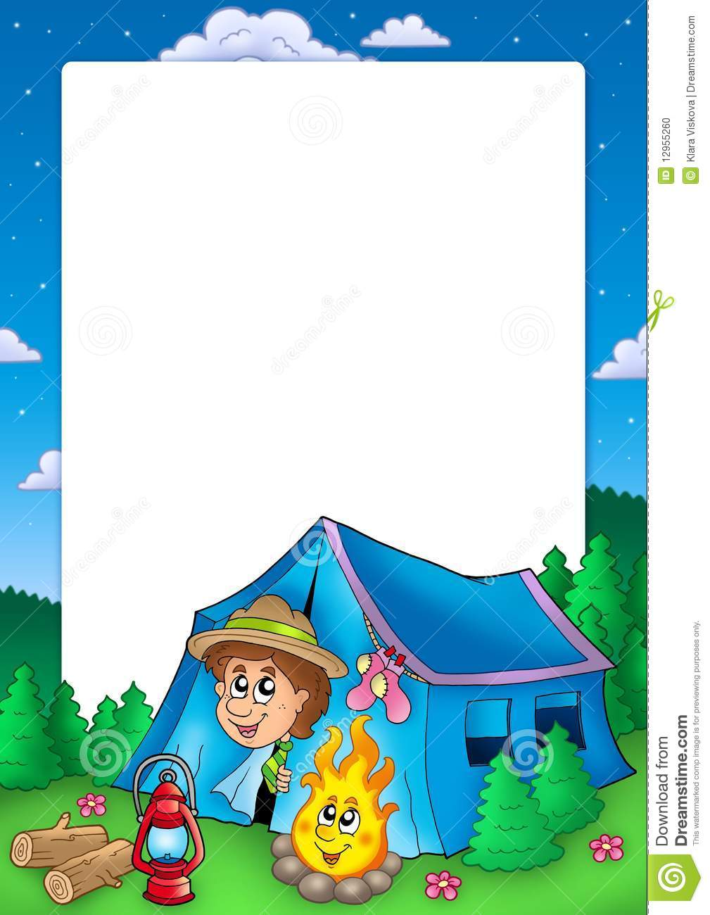 Frame With Camping Scout Stock Photo Image 12955260