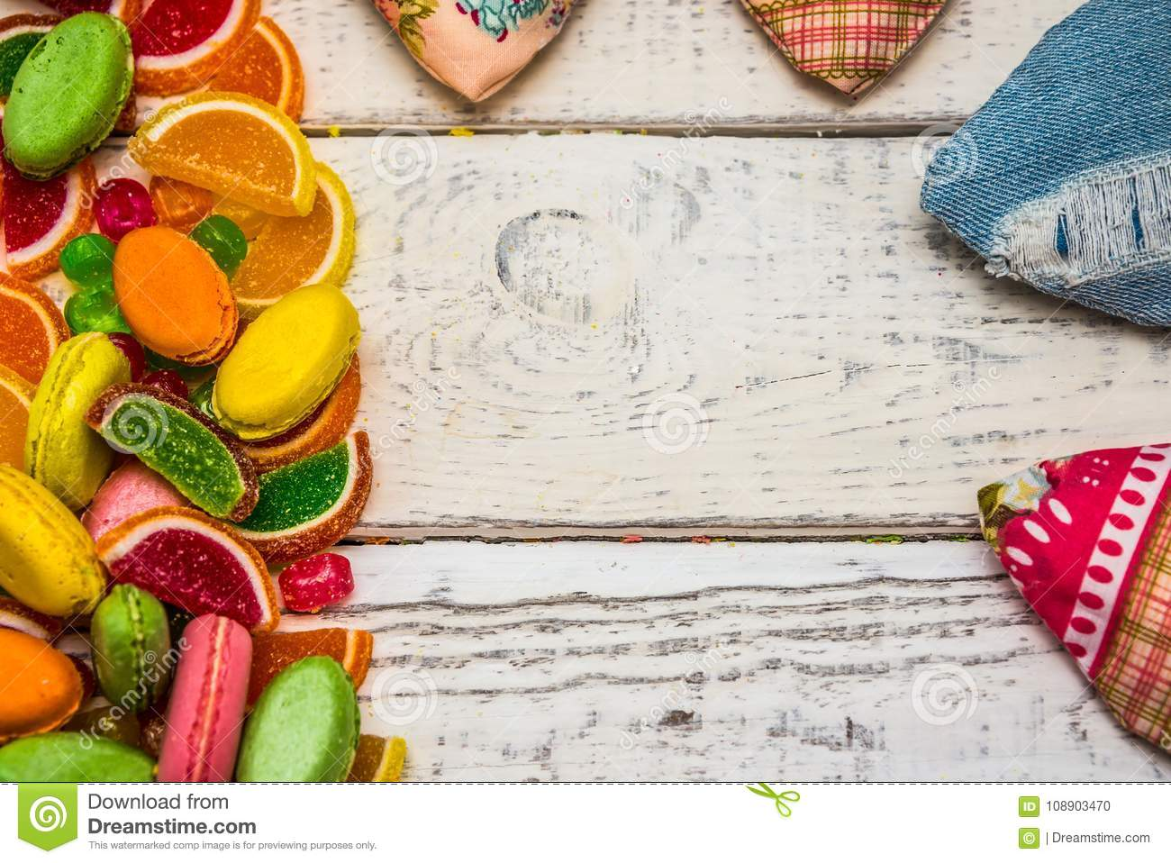 Frame From Candy To Greeting Cards Candy On The Background Stock